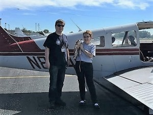 Pilot, Alex, and his finace, Erin with Winston