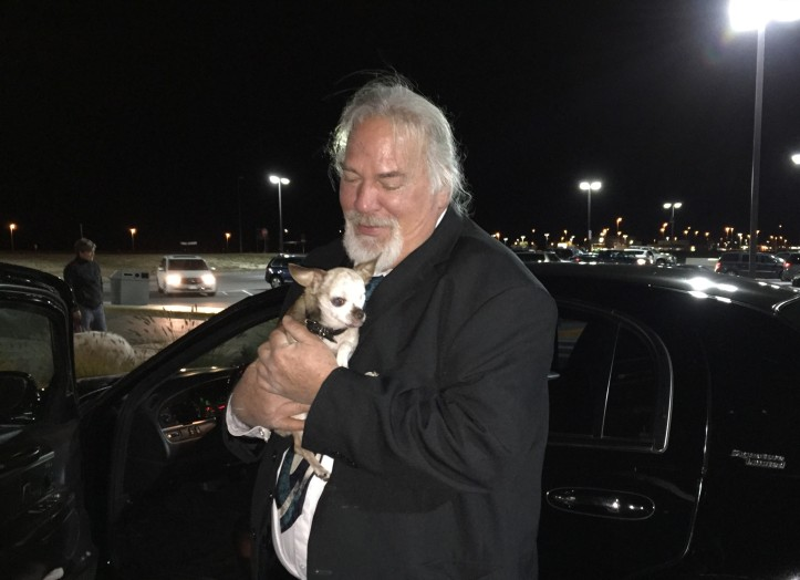 Harley was once met at the airport in Denver by a very nice limo driver!
