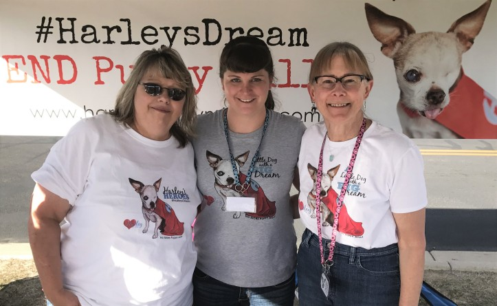 Harley's Heroes - Shelly (left), Brooke (middle) and Valerie (right) creating awareness about puppy mills in honor of Harley!